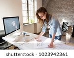 picture of young architect... | Shutterstock . vector #1023942361