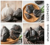 Small photo of Collage with aromatic black (Allium sativum) and white garlic bulbs