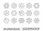 set of lined isometric... | Shutterstock .eps vector #1023954319