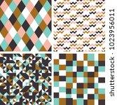 set. seamless geometric... | Shutterstock .eps vector #1023956011