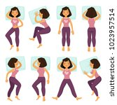 woman girl in sleeping poses on ... | Shutterstock .eps vector #1023957514