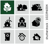 eco green house icons set.... | Shutterstock .eps vector #102396004