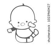 crying little boy silhouette... | Shutterstock .eps vector #1023960427
