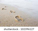 Footprints In Wet Sand Of Beach.