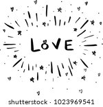 love hand drawn funny doodles | Shutterstock .eps vector #1023969541