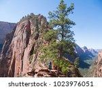 walking to angels landing in...   Shutterstock . vector #1023976051