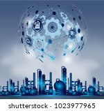 smart industry 4.0  automation... | Shutterstock .eps vector #1023977965