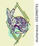 vintage cat tattoo design.... | Shutterstock .eps vector #1023980761