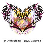 unusual eagle heart colorful...   Shutterstock .eps vector #1023980965