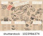 restaurant cafe menu  template... | Shutterstock .eps vector #1023986374