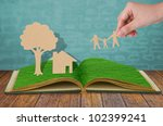 paper cut of family symbol  on... | Shutterstock . vector #102399241
