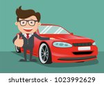 happy business man  next to the ... | Shutterstock .eps vector #1023992629