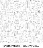 clothes seamless pattern.... | Shutterstock .eps vector #1023999367