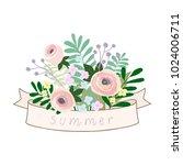 flower ribbons banner pastel...   Shutterstock .eps vector #1024006711