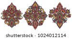 vector set of henna floral... | Shutterstock .eps vector #1024012114