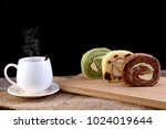 hot coffee in the white cup... | Shutterstock . vector #1024019644