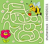 help bee find path to flower.... | Shutterstock .eps vector #1024020211