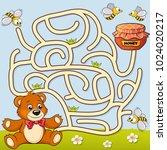 help bear find path to honey.... | Shutterstock .eps vector #1024020217