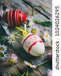 easter eggs and spring daisy... | Shutterstock . vector #1024026295