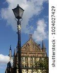victorian streetlamp with part... | Shutterstock . vector #1024027429
