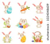 cute cartoon bunnies holding... | Shutterstock .eps vector #1024048609