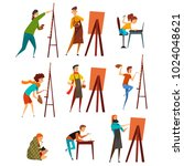 artists painting on canvas set  ... | Shutterstock .eps vector #1024048621
