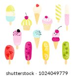 colorful ice cream collection.... | Shutterstock .eps vector #1024049779