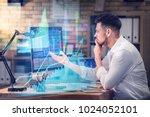 stock exchange trader working... | Shutterstock . vector #1024052101