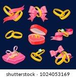 wedding and engagement golden... | Shutterstock .eps vector #1024053169