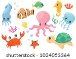 colorful set of various sea... | Shutterstock .eps vector #1024053364