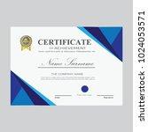 certificate template modern a4... | Shutterstock .eps vector #1024053571