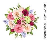 vector bouquet of pink  white ...   Shutterstock .eps vector #1024064605