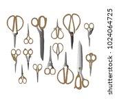 metallic scissors vector... | Shutterstock .eps vector #1024064725