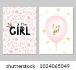 vector set of pink baby shower... | Shutterstock .eps vector #1024065049