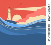 sea waves with lighthouse... | Shutterstock .eps vector #1024065364