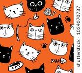 cat seamless pattern | Shutterstock .eps vector #1024070737