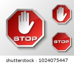 stop palm icon  no entry icon ... | Shutterstock . vector #1024075447