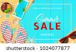 summer sale promo web banner.... | Shutterstock .eps vector #1024077877