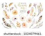 handpainted watercolor flowers... | Shutterstock . vector #1024079461