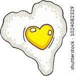 heart shaped fried egg  | Shutterstock .eps vector #1024082329
