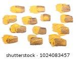 set of golden paint strokes for ... | Shutterstock . vector #1024083457