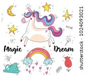 magic cute unicorn  stars ...   Shutterstock .eps vector #1024093021