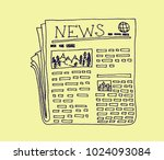 newspaper with text and images... | Shutterstock .eps vector #1024093084