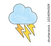 cloud with thunderbolts | Shutterstock .eps vector #1024094509
