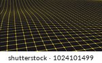 yellow grid on black background.... | Shutterstock .eps vector #1024101499