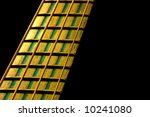 bass guitar fretboard under yellow and green stage lighting - stock photo