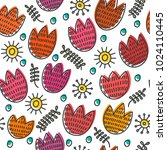 pattern from hand drawn tulips...   Shutterstock .eps vector #1024110445