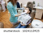 dentist is treating a boy's... | Shutterstock . vector #1024113925