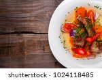 soup with meat and red... | Shutterstock . vector #1024118485