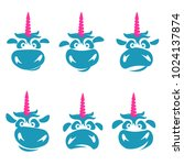 funny unicorn face set graphic... | Shutterstock .eps vector #1024137874